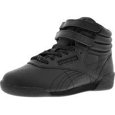 Reebok - Girl's Freestyle Hi Leather Sneakers (Little Kid) - Black
