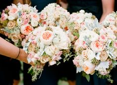 peach juliet roses, sarhah roses, scabiosa pods, pink spray roses, dusty miller, queen annes lace, white ranunculus and seeded euc