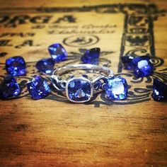 Tanzanites the color of twilight. #swooning #tanzanite #ring #custom #purple #blue #gemstone #silverring #jewelrygram #colorcrush #iris