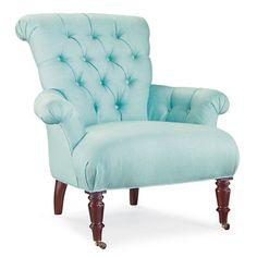 tiffany blue tufted chair.... mmmmm...yes.