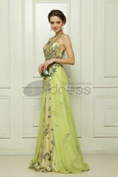 Dresses in Stock-Tencel the computer embroidery Malay Satin light green evening dress