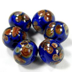 Cobalt Medium Lapis Blue Handmade Lampwork Glass Beads Raku Frit Shiny @covergirlbeads