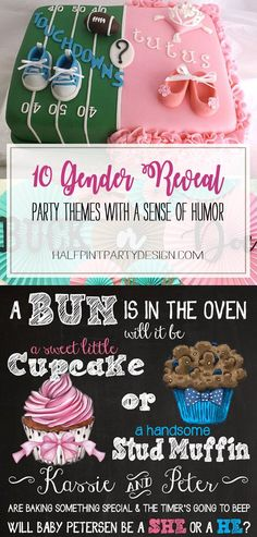 Humorous Gender Reveal Party Ideas Halfpint Design - Ten ideas gender reveal party themes that range from pretty classy to pretty cheeky. But they all have a sense of humor! Gender Reveal Box, Gender Reveal Themes, Gender Reveal Party Decorations, Baby Gender Reveal Party, Baby Reveal Party Ideas, Ideas Party, Baby Reveal Cakes, Gender Party Ideas, Diy Party