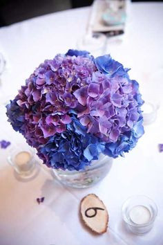 Purple hydrangea wedding centerpieces
