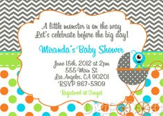 Monster Baby Shower Invitation by dpdesigns2012 on Etsy, $10.00
