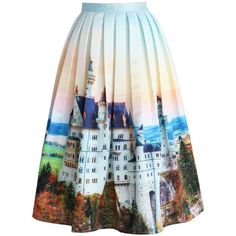 Chicwish New Swan Stone Castle Pleated Midi Skirt ($48) ❤ liked on Polyvore featuring skirts, bottoms, multi, pleated midi skirt, calf length skirts, knee length pleated skirt, mid-calf skirt and foldover skirt