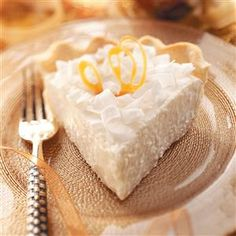 Coconut Chiffon Pie Recipe -I like to garnish slices of this smooth, silky pie with coconut shavings for a fun, tropical flair. —Kristine Fry, Fennimore, Wisconsin