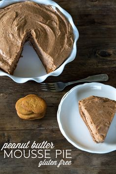 Gluten Free Peanut Butter Mousse Pie - there was wayyyy more filling than fit in our pie dish. maybe use a deeper pie dish next time.