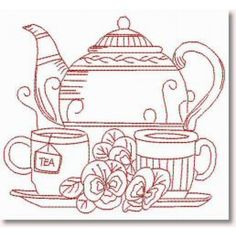 Tea with Mum ~ Redwork hand embroidery pattern Hand Embroidery Patterns, Embroidery Applique, Cross Stitch Embroidery, Machine Embroidery, Embroidery Designs, Blackwork, Coloring Pages, Sewing Crafts, Needlework
