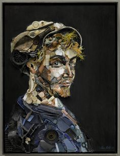 Tess Felix creates portraits with the plastic beach debris she collects near her home.