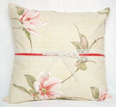 $20 Country Style Cream Coral Red Green Floral Orchids Print Decorative Pillow Case , Cushion Cover