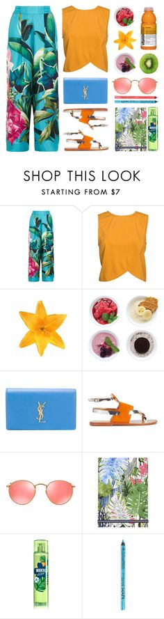 """""""Tropical Vacation"""" by stavrolga ❤ liked on Polyvore featuring F.R.S. For Restless Sleepers, NLY Trend, Clips, Zoku, Yves Saint Laurent, Sanchita, Ray-Ban, Christian Lacroix, NYX and tropical"""