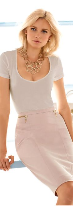 I would probably be fired if I wore a shirt like this to the office, but I love the skirt and necklace.