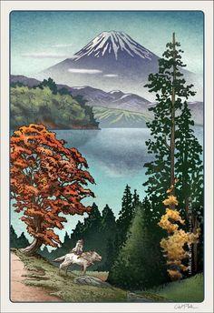 Magical Landscapes of Japan- Mononoke 13 x 19 signed print Signed 13 Hayao Miyazaki, Japon Illustration, Digital Illustration, Japanese Prints, Japanese Art, Princess Mononoke Wallpaper, Princes Mononoke, Mononoke Forest, Mononoke Cosplay