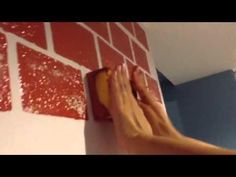 Making a fake brick wall out of styrofoam insulation panels. You can see the final version of the brick wall in the mo. Fake Brick Wall, Fake Walls, Brick Wall Decor, Painted Brick Walls, Faux Brick, Painting Tile Floors, Diy Wall Painting, Brick Design, Wall Design