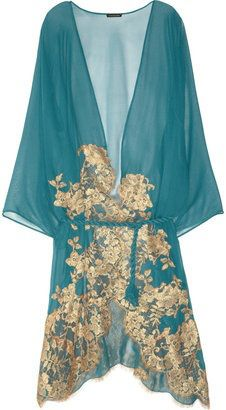Teal blue and gold sheer silk negilgee