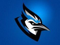 Blue Jay designed by Zilligen Design Studio. Fantasy Football Logos, American Logo, J Birds, Sports Decals, Esports Logo, Sports Team Logos, Bird Logos, Sports Graphics, Shirt Print Design