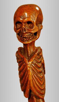Rare and exceptional memento mori cane. Rare folk art for sale on CuratorsEye.com