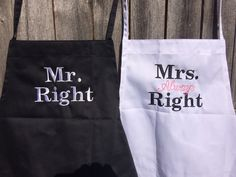 A personal favorite from my Etsy shop https://www.etsy.com/listing/262481240/mr-and-mrs-aprons-his-and-hers-mr-mrs-mr