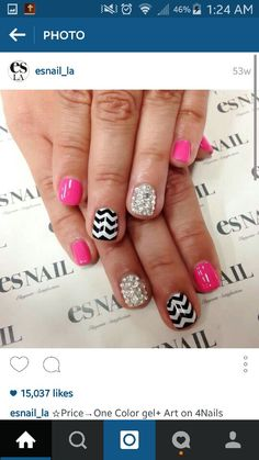 Pink glitter and chevron