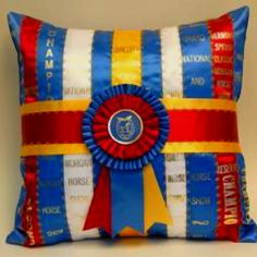 Turn your old ribbons into horse show ribbon pillows!