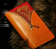 Handmade Floral Leather Carving Contrast Color Bifold Wallet Inner Structure-SR