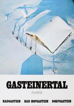 Gasteinertal, Austria in Vintage Ski Areas Bad Gastein, Vintage Ski Posters, Sports Posters, Austria Travel, Winter Scenery, Advertising Poster, Winter Sports, Random Things, Illustration