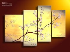 Wholesale hand-painted wall art Dusk pink branches landscape oil-paintings on canvas /set mixorde Framed, Free shipping, $27.94-38.8/Set | DHgate