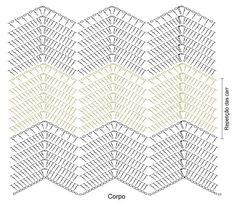 Discover thousands of images about Vestido de Crochê Chevron com EuroRoma Passione Chevrons Au Crochet, Crochet Zig Zag, Crochet Ripple Blanket, Crochet Motif, Crochet Blouse, Bandeau Crochet, Crochet Instructions, Crochet Diagram, Crochet Chart