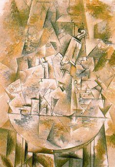 Le guéridon.  Braque  1912. Óleo sobre lienzo. 116,5 x 81,6 cm.