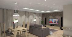 Salon w wystroju nowoczesnym w kolorze beżowym i brązie