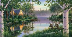 """Shop Wildlife Puzzles at American Expedition - Made in the USA - This beautiful """"Paradise Bay"""" 500 piece puzzle shows two beautiful whitetail deer resting near a lake; a cabin is lit up on the other side. The puzzle measures x when complete. Cottage Art, Cottage In The Woods, Cabins In The Woods, Sunsout Puzzles, Paradise Bay, Cottage Wallpaper, Paint By Number, Various Artists, Photos"""