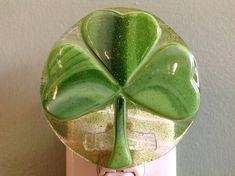 Clover Fused Glass Night Light Irish St. Patty's Day
