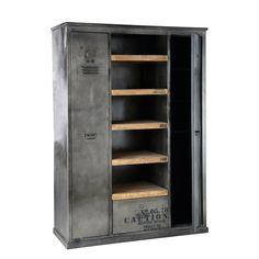 Great Kleiderschrank im Industrial Stil aus Metall in Antikoptik B cm