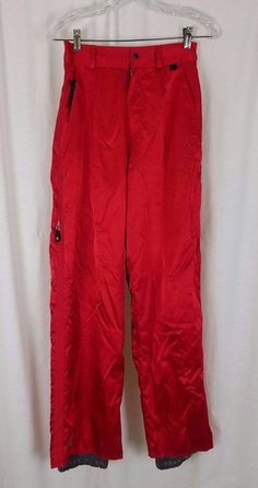 Roxy Quiksilver Snow Insulated Winter Snowboard Ski Pants Red Womens M Sheen Wet #Quiksilver