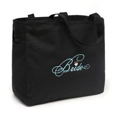 @Overstock - These fun black bridal tote bags are embossed with the word 'bride' in a beautiful turquoise cursive design and accented with a sparkling diamond shape. This versatile bag is the perfect go-to bag for the day of to hold much-needed supplies.http://www.overstock.com/Gifts-Flowers/Black-Bride-Diamond-Design-Silver-embroidered-Polyester-Tote-Bag/6777444/product.html?CID=214117 $18.99