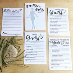 A simple and elegant collection of bridal shower games.  Who am I?, Guess the Dress, Find the guest, and How well do you know the bride to be.  Perfect for your bridal shower, kitchen tea, or bachelorette celebration.