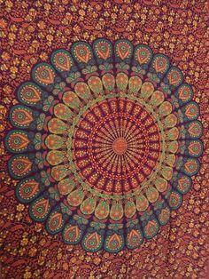 $15   Mandala Wall Tapestries, Bohemian Wall Art, Indian Cotton Bedding, Boho Beach Blanket, Tapestry Throw, Dorm Room Decor, Multi Color