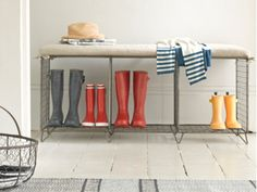 The industrial inspired wire Whatsit storage bench has a comfy linen seat and is ideal for stashing your shoes, boots and the kids' school bags away in the hall.