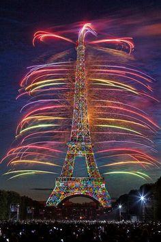 Eiffel Tower in rainbows.