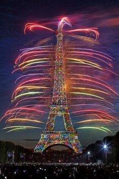 Eiffel Tower in rainbows.