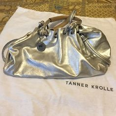 Gorgeous Silver Leather Tanner Krolle of London Tanner Krolle of London. Beautiful silver leather bag a little wear inside the handles. This bag has so much style!! Tanner Krolle of London Bags Satchels