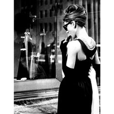 Audrey Hepburn in 'Breakfast at Tiffanys' Costume & Style ❤ liked on Polyvore featuring backgrounds, frames & background and models