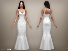 Wedding dress 07 for The Sims 4 by BEO Sims 4 Cc Packs, Sims 4 Mm Cc, Sims 3, Sims 4 Mods Clothes, Sims 4 Clothing, Sims 4 Wedding Dress, Long Wedding Dresses, Prom Dress, The Sims 4 Cabelos