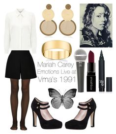 """""""Inspired in Mariah Carey at the 1991 VMAs"""" by mizzlem ❤ liked on Polyvore featuring Fogal, Eastex, Valentino, Kate Spade, Mariah Carey, Jení, Smashbox, Galaxy Audio, women's clothing and women"""