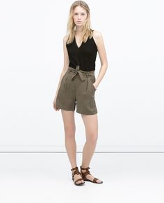 ZARA - WOMAN - FAUX LEATHER STUDDED TOP