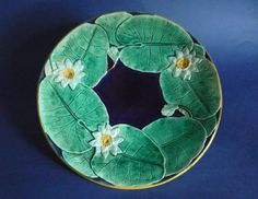 Holdcroft Cobalt Majolica 'Water Lily' Plate c1870