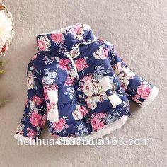 Peony flower coat 2016 Brand New Girls Jackets & Coats Double breasted Children Winter Outwear Totem Pattern Kids Jackets Girl C en Chaquetas y Abrigos de Bebés en AliExpress.com | Alibaba Group