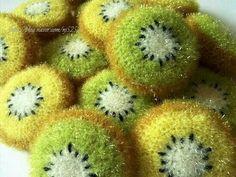 뜨개질사랑 & 솜씨자랑 | BAND Crochet Food, Crochet Kitchen, Knit Crochet, Crochet Motifs, Crochet Patterns, Crochet Flowers, Fabric Flowers, Creative Bubble, Crochet Scrubbies