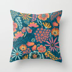 floral  Throw Pillow by Yellow Button Studio - $20.00